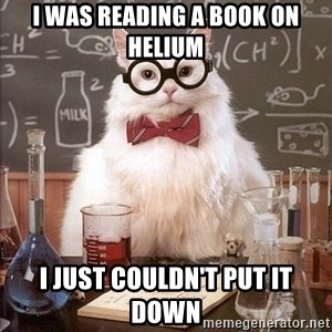 Chemistry Cat - I was reading a book on helium I just couldn't put it down