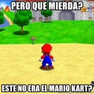 Mario looking at castle - pero que mierda? este no era el mario kart?