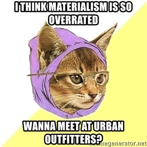 Hipster Kitty - I think materialism is so overrated wanna meet at urban outfitters?