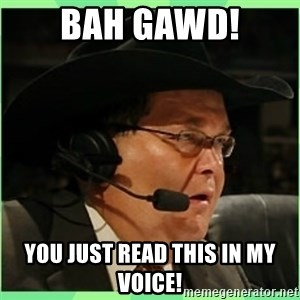 Jim Ross - BAH GAWD! YOU JUST READ THIS IN MY VOICE!
