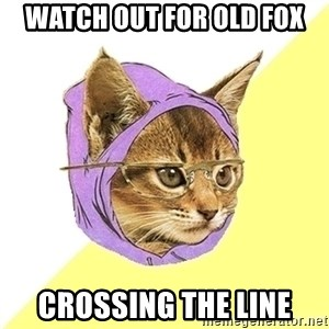 Hipster Kitty - WATCH OUT FOR OLD FOX CROSSING THE LINE