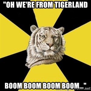 "Wise Tiger - ""oh we're from tigerland boom boom boom boom..."""