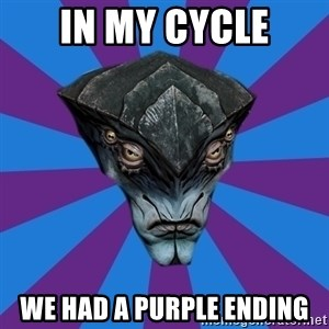 Javik the Prothean - in my cycle we had a purple ending