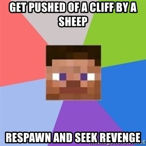 Minecraft Man - get pushed of a cliff by a sheep respawn and seek revenge
