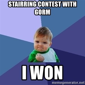 Success Kid - stairring contest with gorm i won