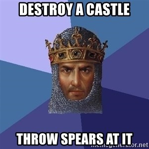 Age Of Empires - Destroy a castle throw spears at it