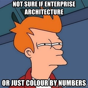 Futurama Fry - not sure if enterprise architecture or just colour by numbers