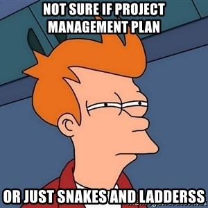 Futurama Fry - not sure if project management plan or just snakes and ladderss