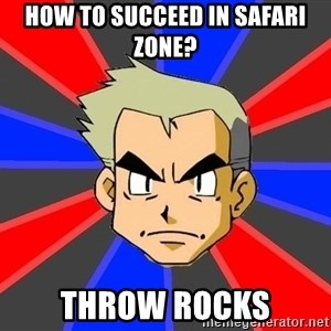 Professor Oak - how to succeed in safari zone? throw rocks