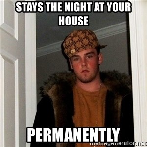Scumbag Steve - stays the night at your house permanently