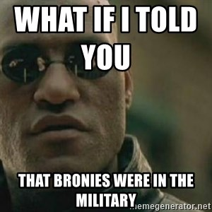 Scumbag Morpheus - WHAT IF I TOLD YOU                  THAT BRONIES WERE IN THE MILITARY