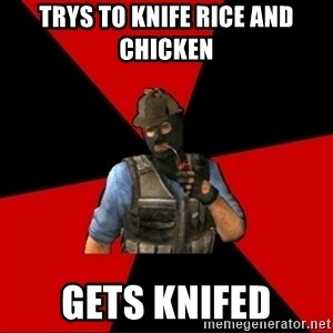 Troubled Terrorist - TRYS TO KNIFE RICE AND CHICKEN GETS KNIFED