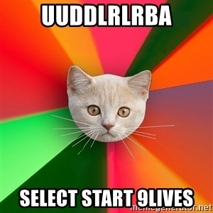 Advice Cat - uuddlrlrba SeLECT START 9lives