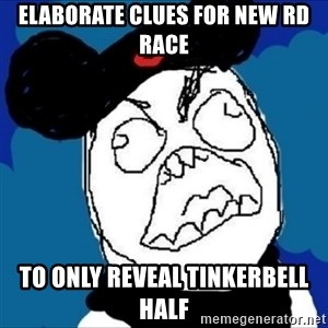 runDisney Rage - elaborate clues for new rd race to only reveal tinkerbell half