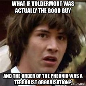 Conspiracy Keanu - what if voldermort was actually the good guy  and the order of the pheonix was a terrorist organisation?