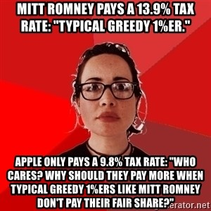 """Liberal Douche Garofalo - mitt romney pays a 13.9% tax rate: """"typical greedy 1%er.""""  apple only pays a 9.8% tax rate: """"who cares? why should they pay more when typical greedy 1%ers like mitt romney don't pay their fair share?"""""""