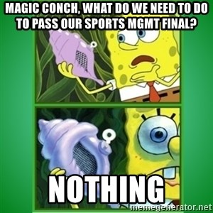 All Hail The Magic Conch - Magic conch, what do we need to do to pass our sports mgmt final? nothing