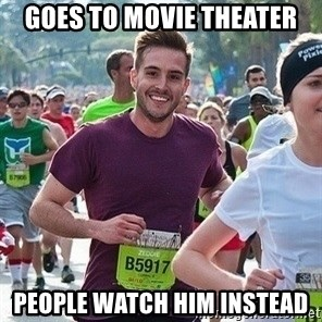 Ridiculously photogenic guy (Zeddie) - Goes to Movie Theater People watch him instead