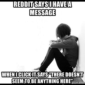 "First World Problems - reddit says i have a message When i click it says ""there doesn't seem to be anything here"""