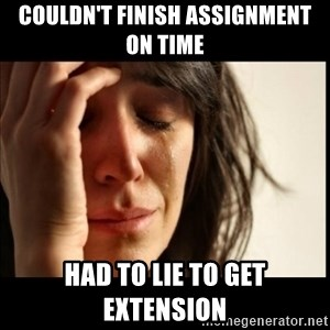First World Problems - couldn't finish assignment on time had to lie to get extension