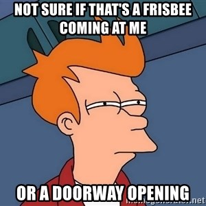 Futurama Fry - not sure if that's a frisbee coming at me or a doorway opening