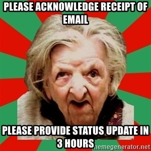 Crazy Old Lady - Please acknowledge receipt of email Please provide status update in 3 hours