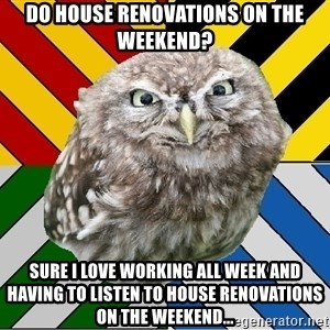 JEALOUS POTTEROMAN - Do house renovations on the weekend? Sure I love working all week and having to listen to house renovations on the weekend...