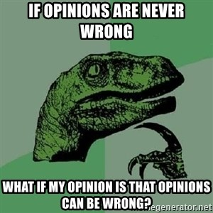 Philosoraptor - If opinions are never wrong what if my opinion is that opinions can be wrong?