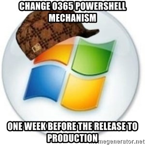 Scumbag Microsoft - Change O365 Powershell mechanism One week before the release to production