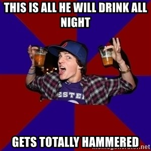 Douchebag College Freshman - this is all he will drink all night gets totally hammered