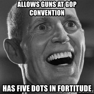 Scumbag Rick Scott - allows guns at gop convention has five dots in fortitude
