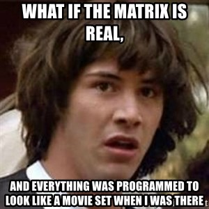 Conspiracy Keanu - what if the matrix is real, and everything was programmed to look like a movie set when i was there