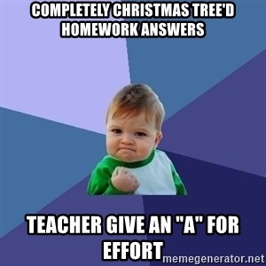 "Success Kid - completely christmas tree'd homework answers teacher give an ""a"" for effort"