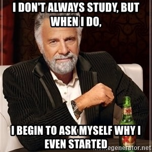 The Most Interesting Man In The World - i don't always study, but when i do, i begin to ask myself why i even started