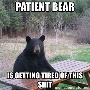 Patient Bear - PATIENT BEAR Is getting tired of this shit