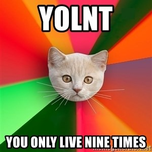 Advice Cat - YOLNT yOU ONLY LIVE NINE TIMES