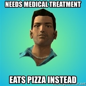 Terrible Tommy - needs medical treatment eats pizza instead