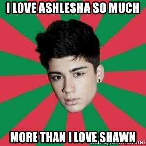 Typical Zayn - i love ashlesha so much more than i love shawn