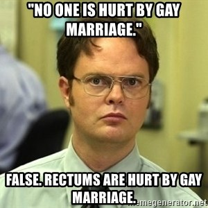 "Dwight Schrute - ""no one is hurt by gay marriage."" false. rectums are hurt by gay marriage."