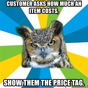 Old Navy Owl - CUSTOMER ASKS HOW MUCH AN ITEM COSTS, SHOW THEM THE PRICE TAG.