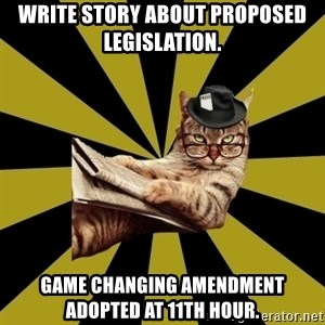 Frustrated Journalist Cat - write story about proposed legislation. game changing amendment adopted at 11th hour.