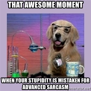 Dog Scientist - That Awesome moment when your stupidity is mistaken for advanced sarcasm