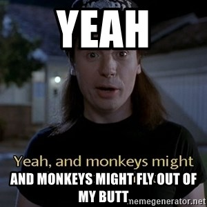 Wayne's world - yeah and monkeys might fly out of my butt