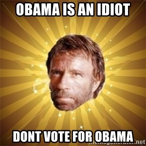 Chuck Norris Advice - Obama is an idiot dont vote for obama