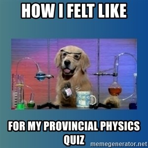 Chemistry Dog - How i felt like for my provincial physics quiz