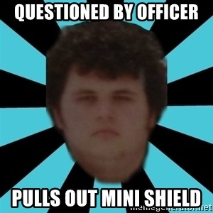 dudemac - questioned by officer pulls out mini shield