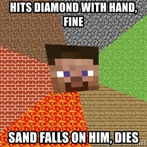 Minecraft Guy - Hits Diamond with hand, fine sand falls on him, dies