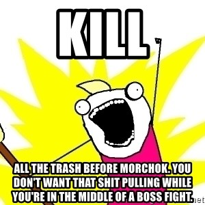 X ALL THE THINGS - KILL all the trash before Morchok. You don't want that shit pulling while you're in the middle of a boss fight.