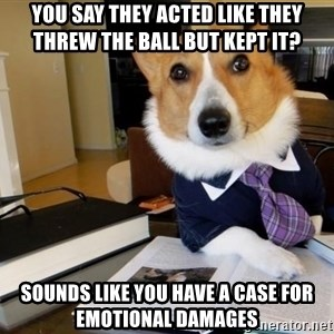 Dog Lawyer - you say they acted like they threw the ball but kept it? sounds like you have a case for emotional damages