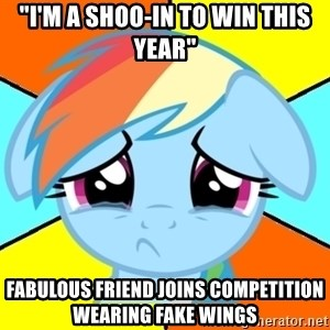 """Depression Dash - """"I'm a shoo-in to win this year"""" fabulous friend joins competition wearing fake wings"""